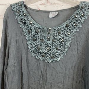 MAD style gray beaded lace tunic shirt